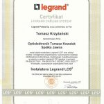 Certyfikat instalatora Legrand LCS